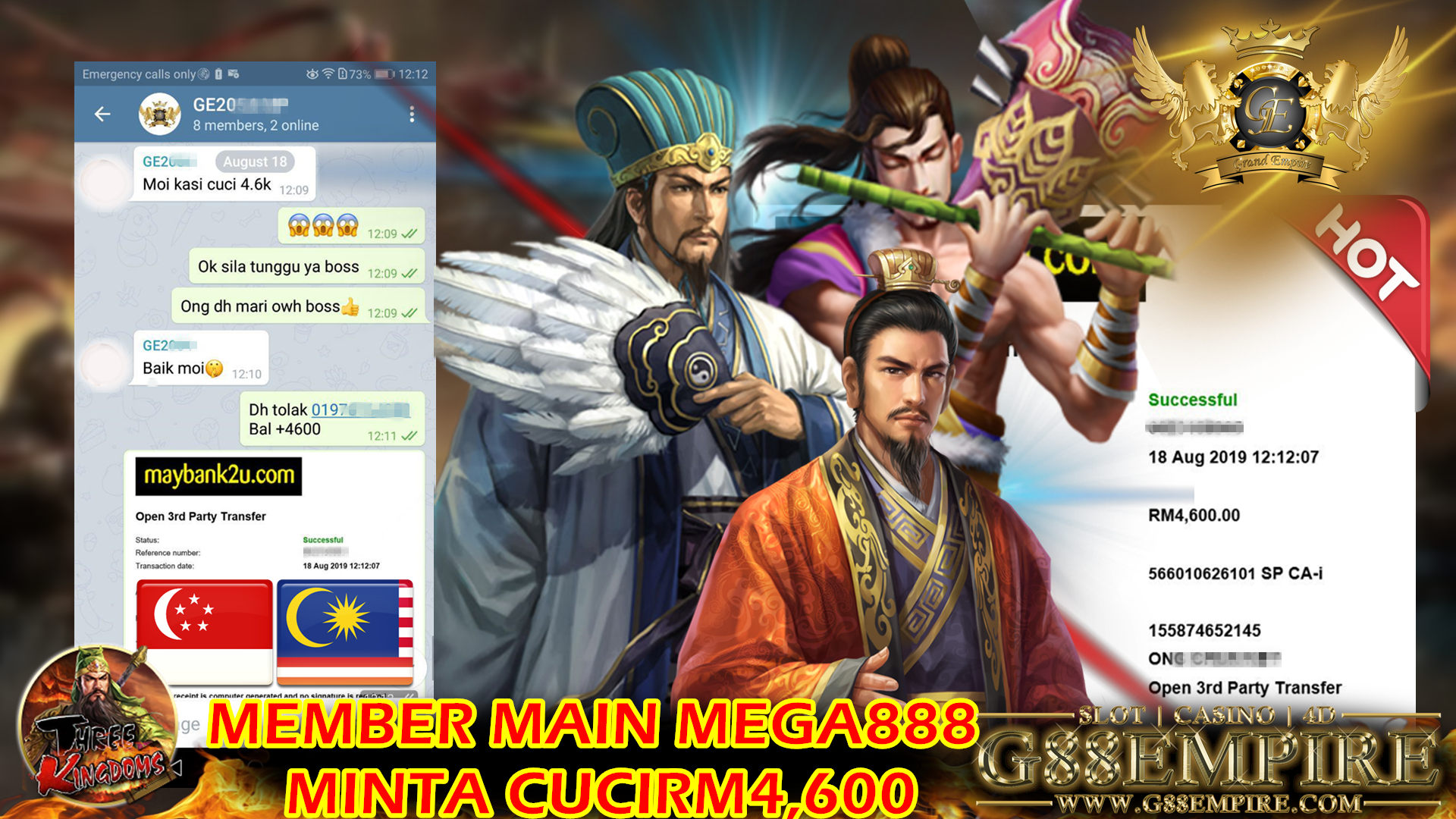 Mega888 ft.Three Kingdom Cuci RM4600 !!