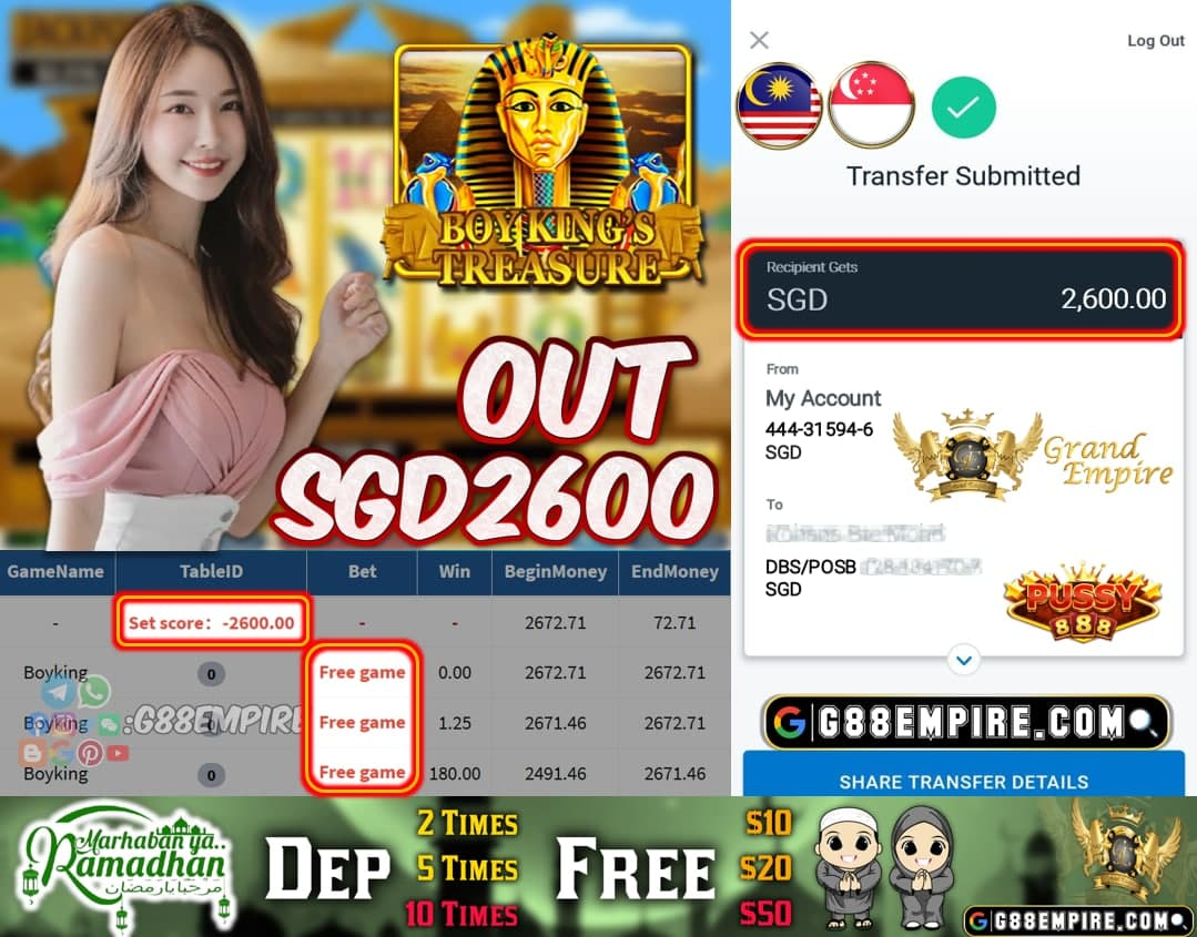 PUSSY888 - BOYKING CASH OUT SGD2600!!!