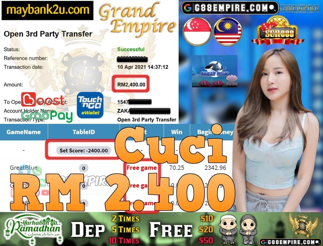 SCR888-GREATBLUE CUCI RM2,400!!!