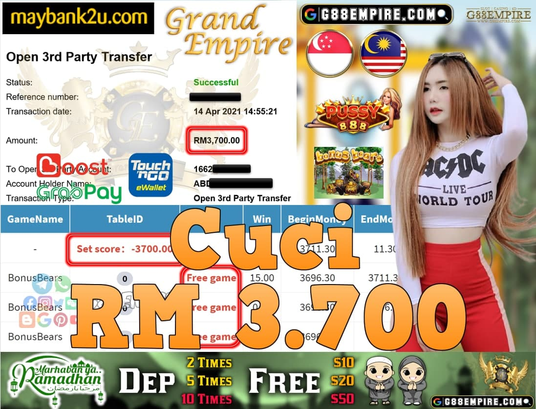 PUSSY888-BONUSBEAR CUCI RM3,700!!!