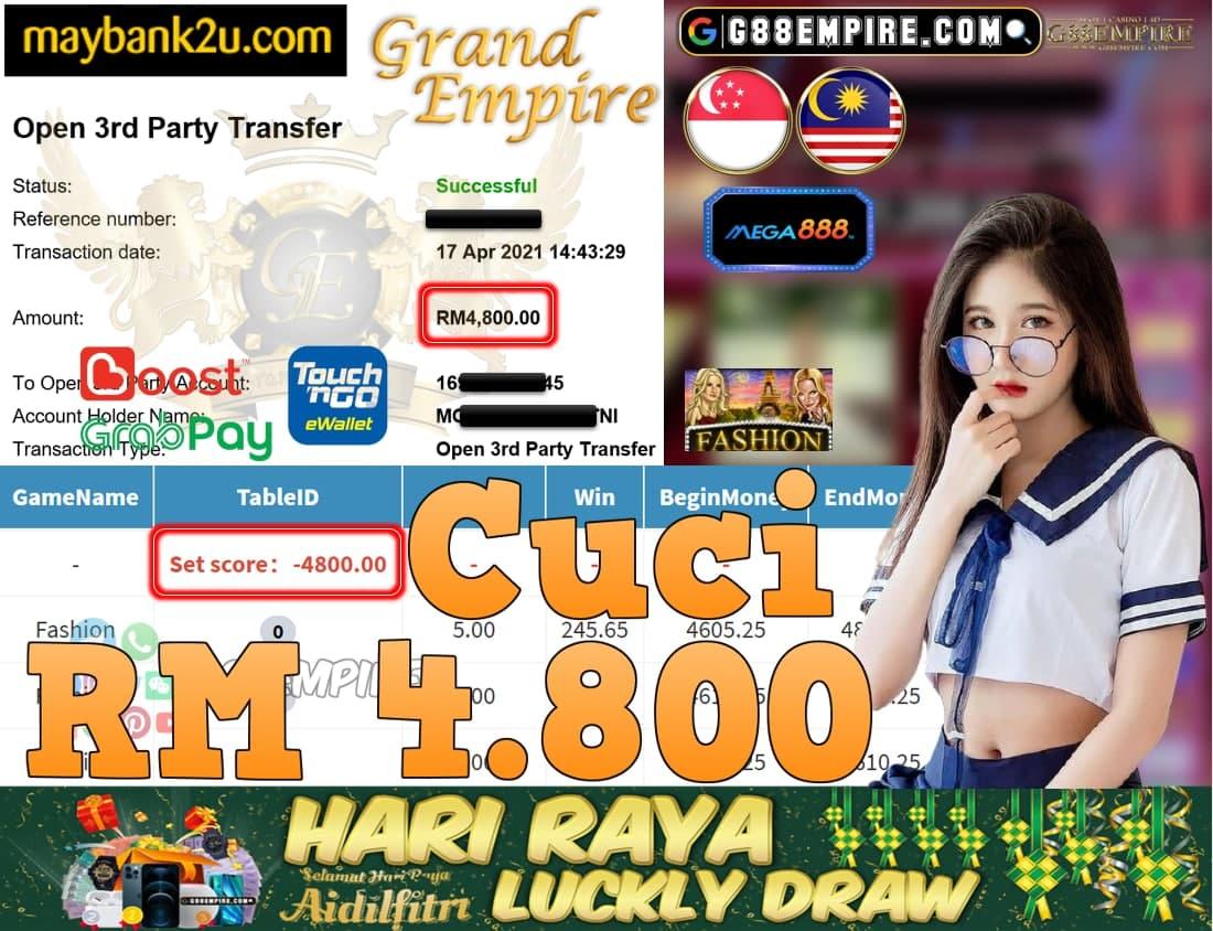 MEGA888-FASHION CUCI RM4,800!!!