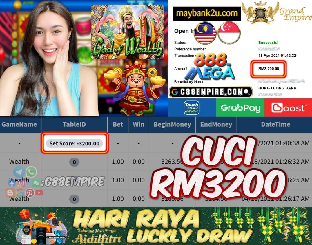 MEGA888 - WEALTH CUCI RM3200!!!