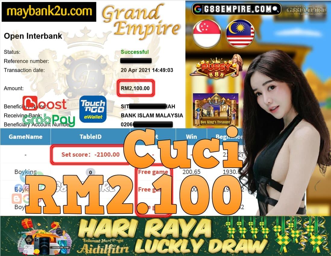 PUSSY888-BOYKING CUCI RM2,100!!!