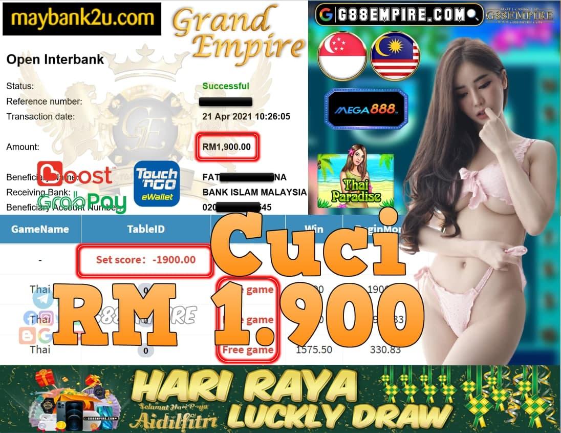 MEGA888-THAI PARADISE CUCI RM1,900!!!