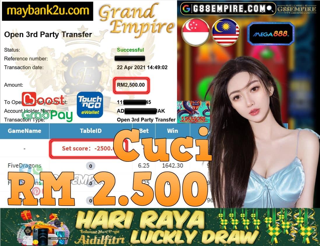 MEGA888-FIVEDRAGON CUCI RM2,500!!!