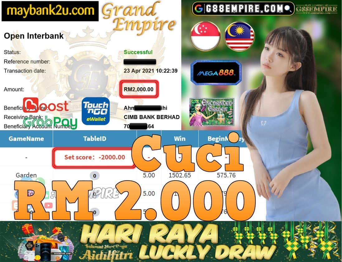 MEGA888-GARDEN CUCI RM2,000!!!