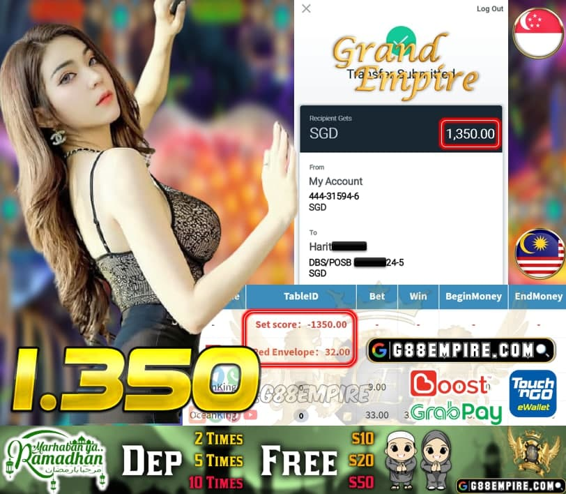 MEGA888-OCEANKING CUCI RM 1.350!!!