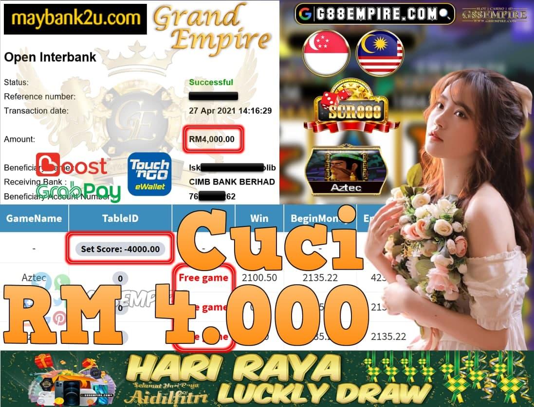 SCR888-AZTEC CUCI RM4,000!!!