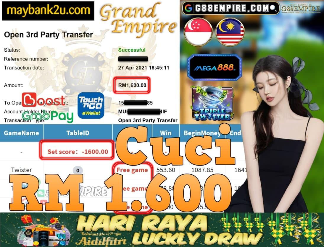 MEGA888-TWISTER CUCI RM1,600!!!