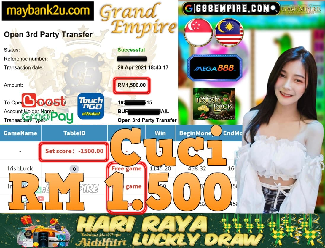 MEGA888-IRISHLUCK CUCI RM1,500!!!