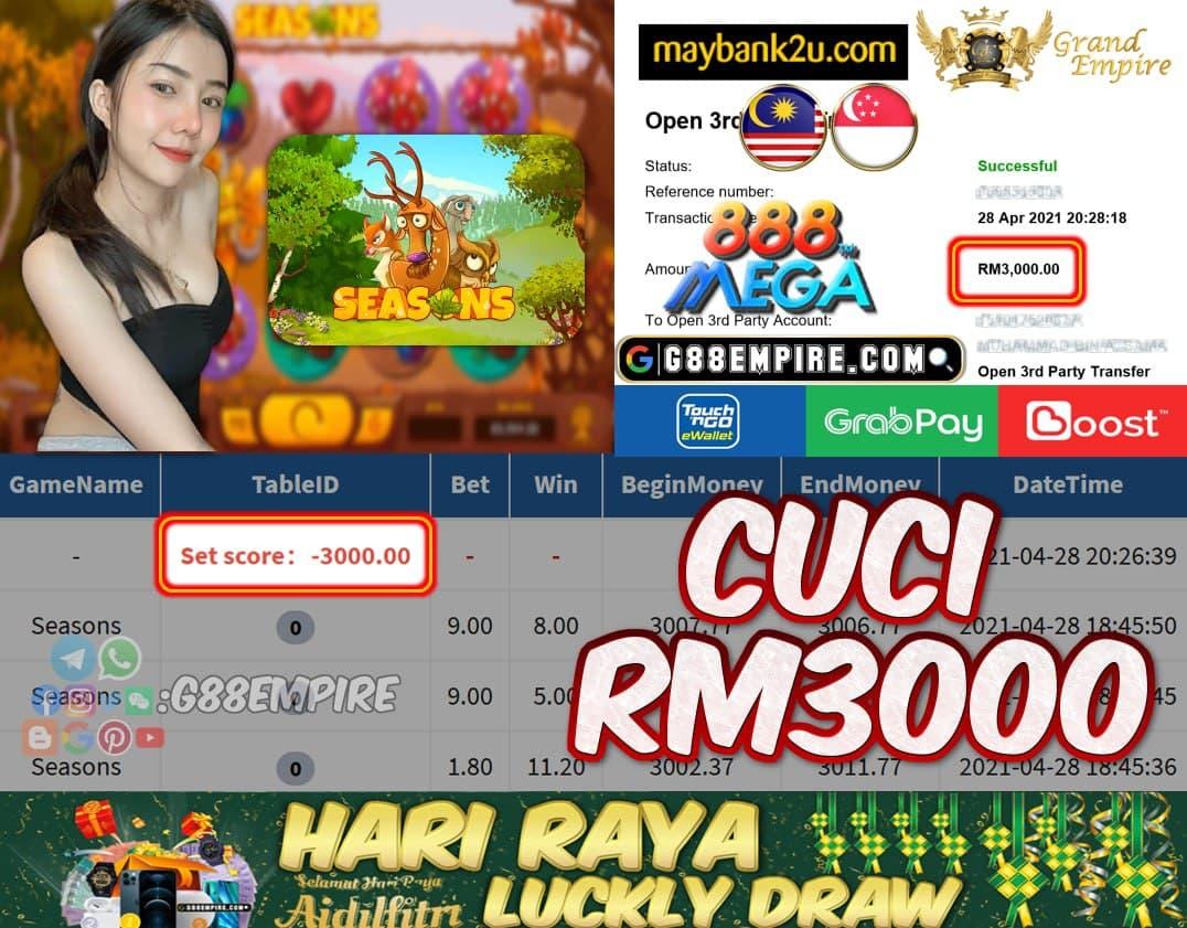 MEGA888 - SEASONS CUCI RM3000!!!