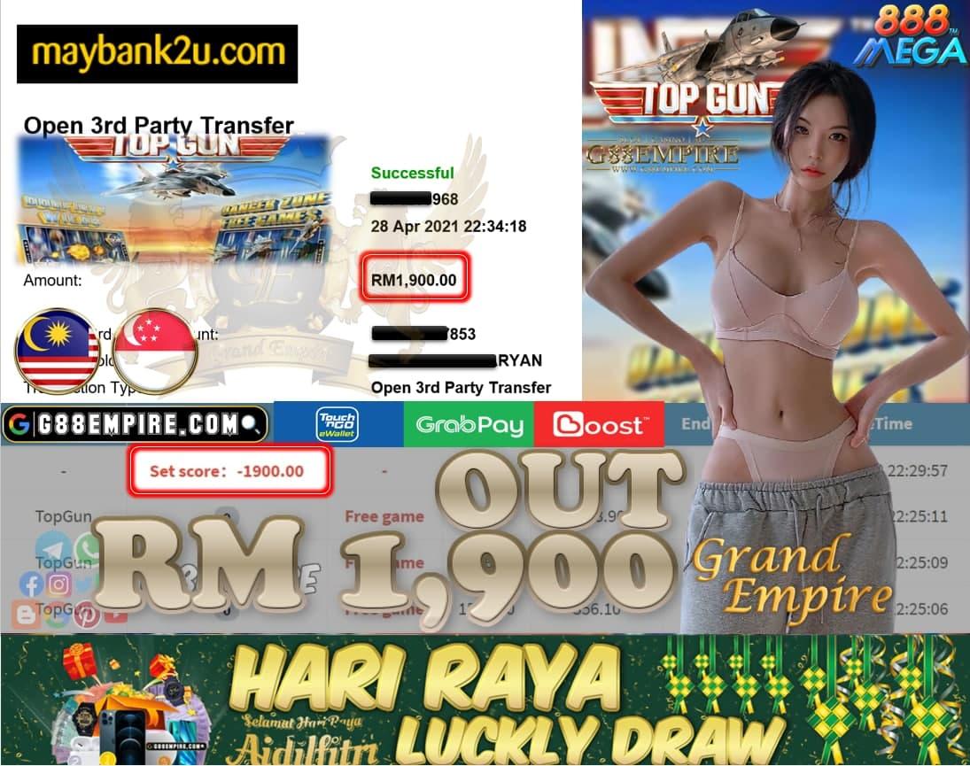 MEGA888- TOPGUN CUCI RM1,900!!!