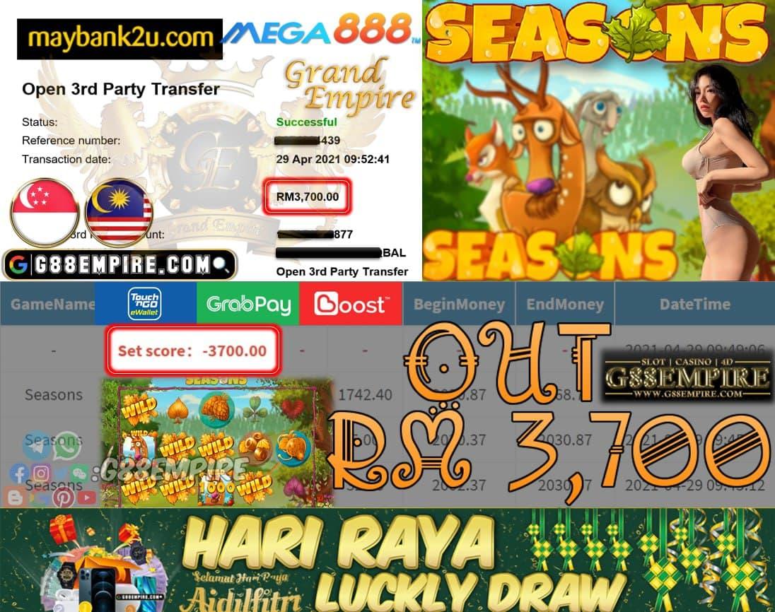 MEGA888- SEASONS CUCI RM3,700!!!
