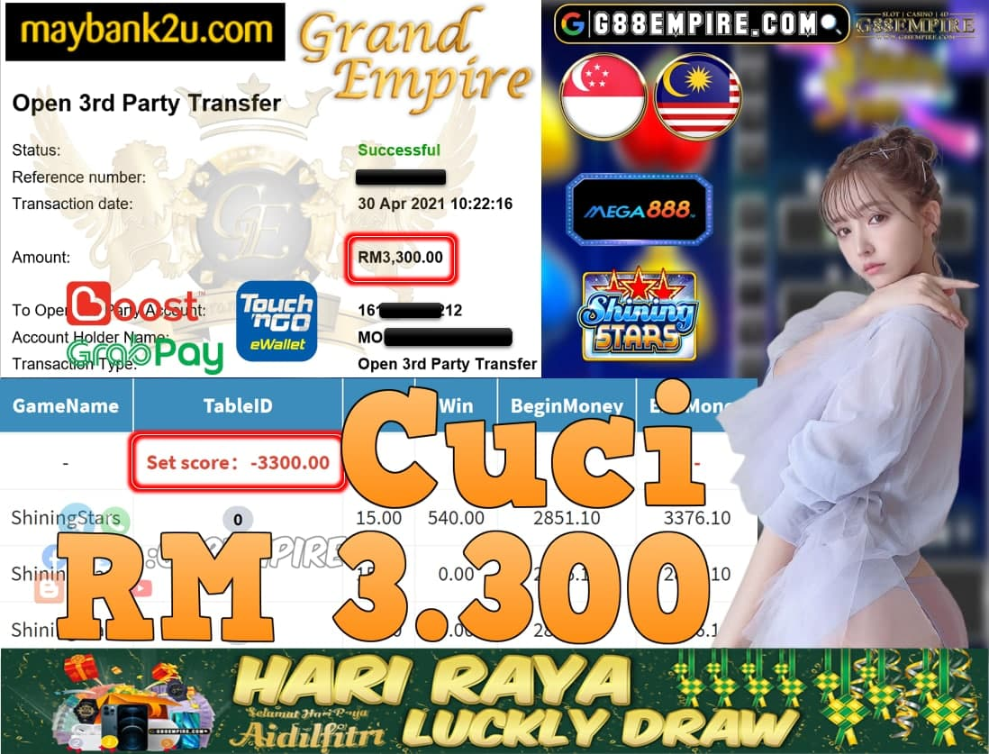 MEGA888-SHININGSTARS CUCI RM3,300!!!
