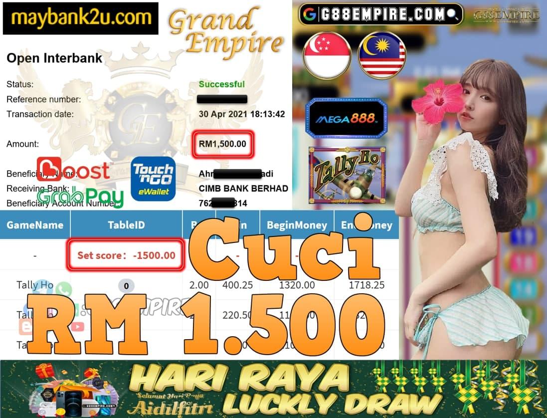 MEGA888-TALLYHO CUCI RM1,500!!!