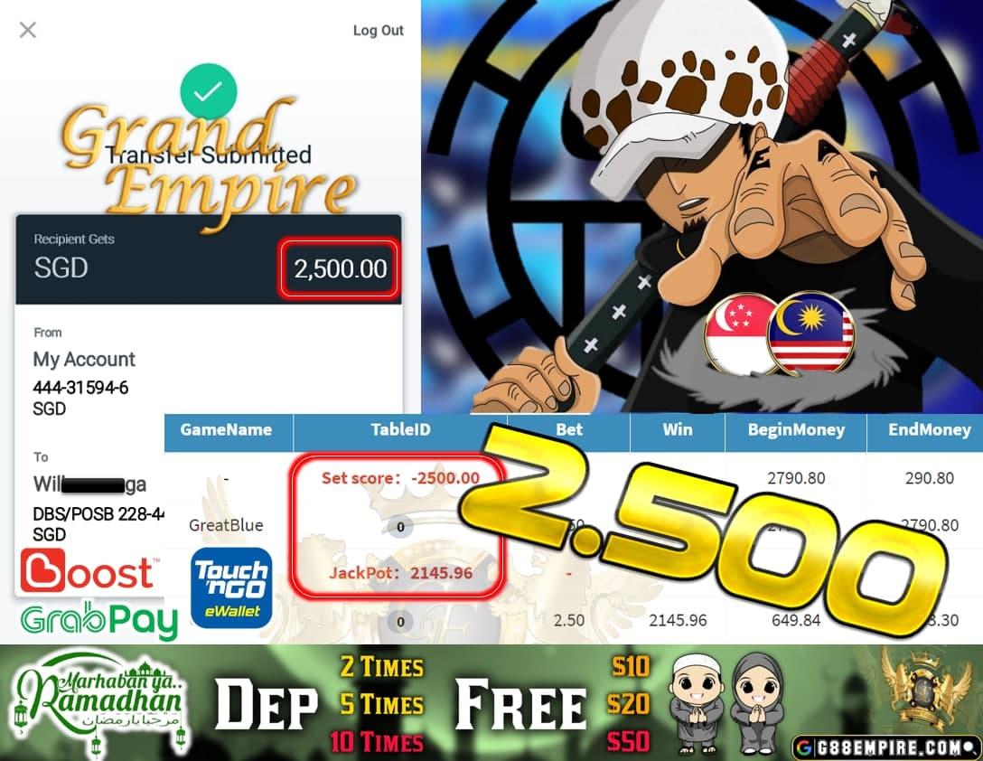 PUSSY888-GREATBLUE CASH OUT $2.500!!!