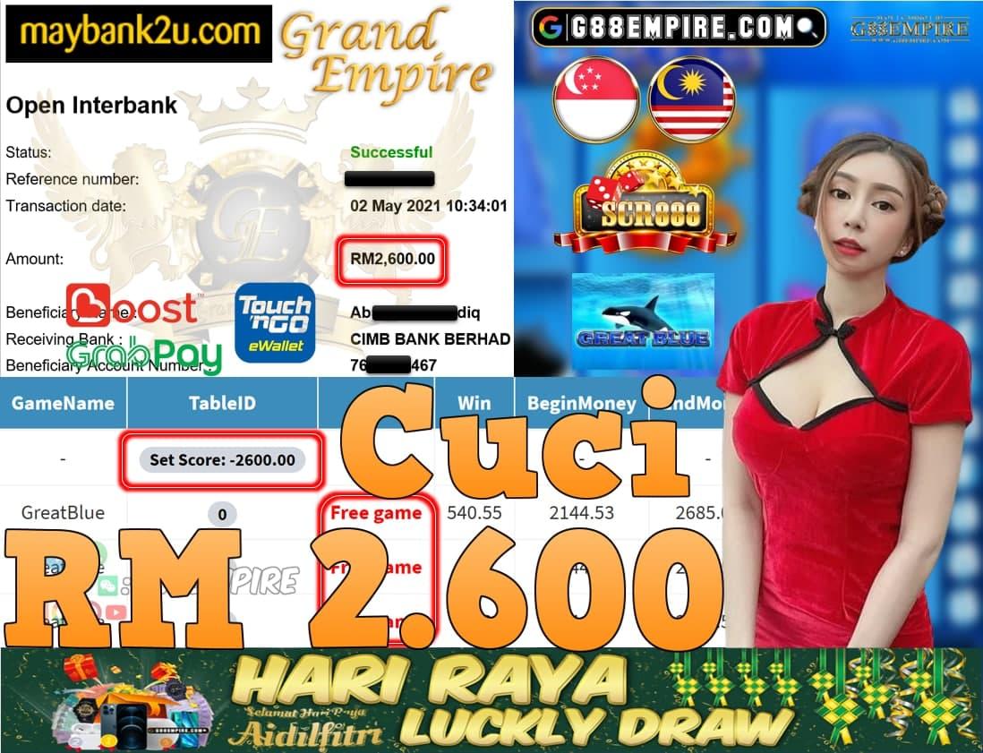 SCR888-GREATBLUE CUCI RM2,600!!!