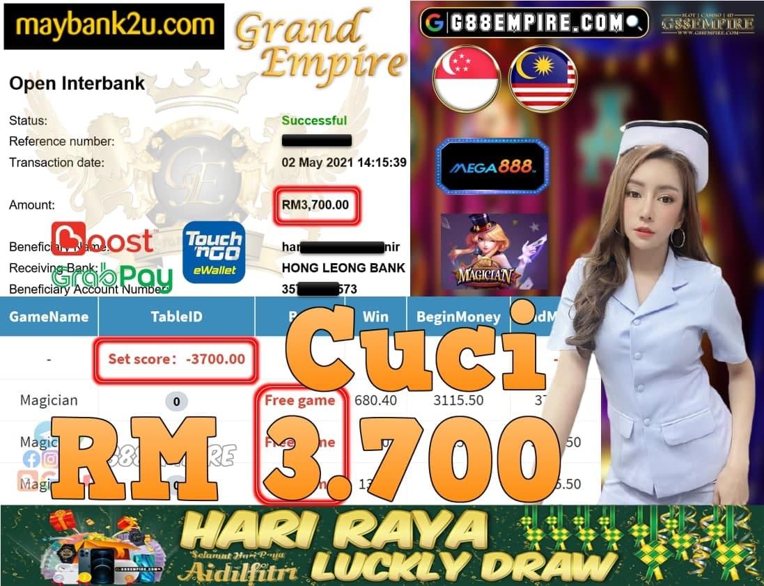 MEGA888-MAGICIAN CUCI RM3,700!!!