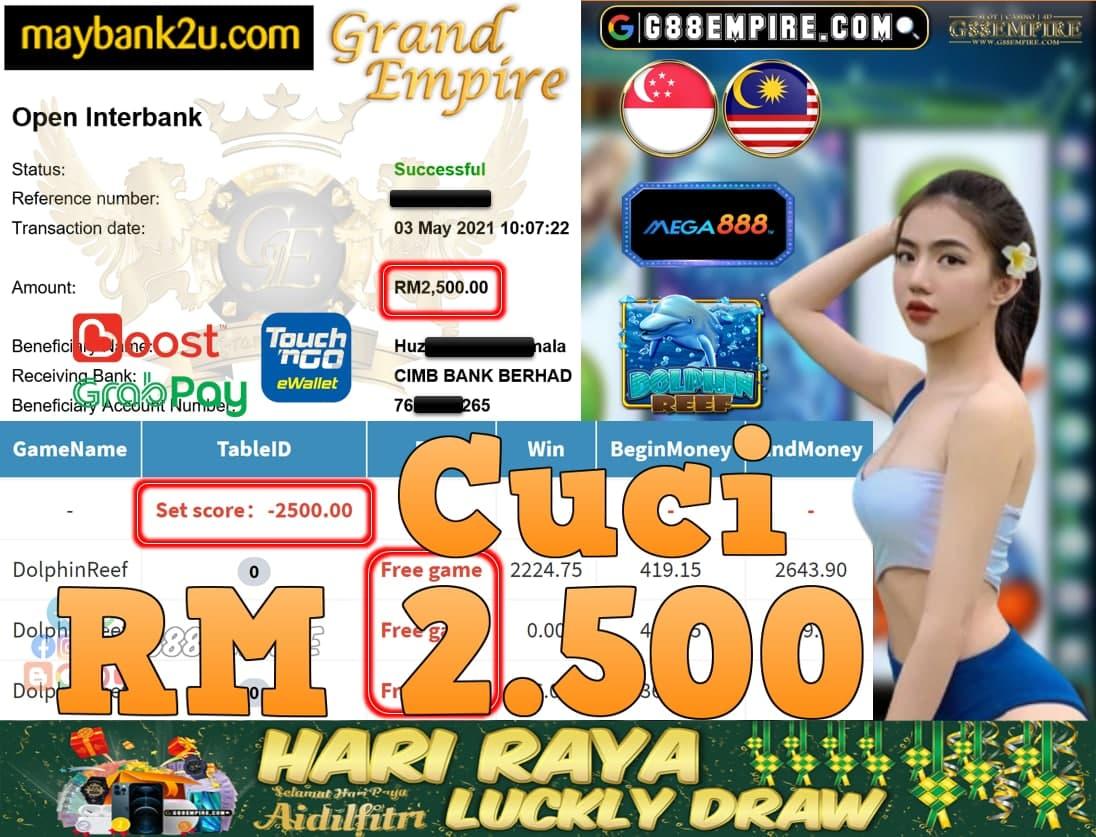MEGA888-DOLPHINREEF CUCI RM2,500!!!