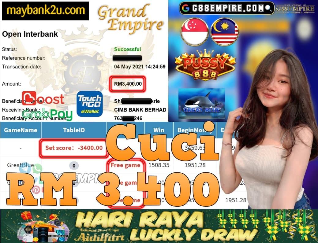 PUSSY888-GREATBLUE CUCI RM3,400!!!