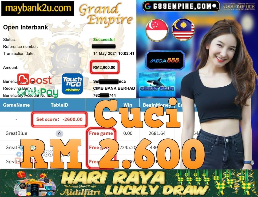 MEGA888-GREATBLUE CUCI RM2,600!!!