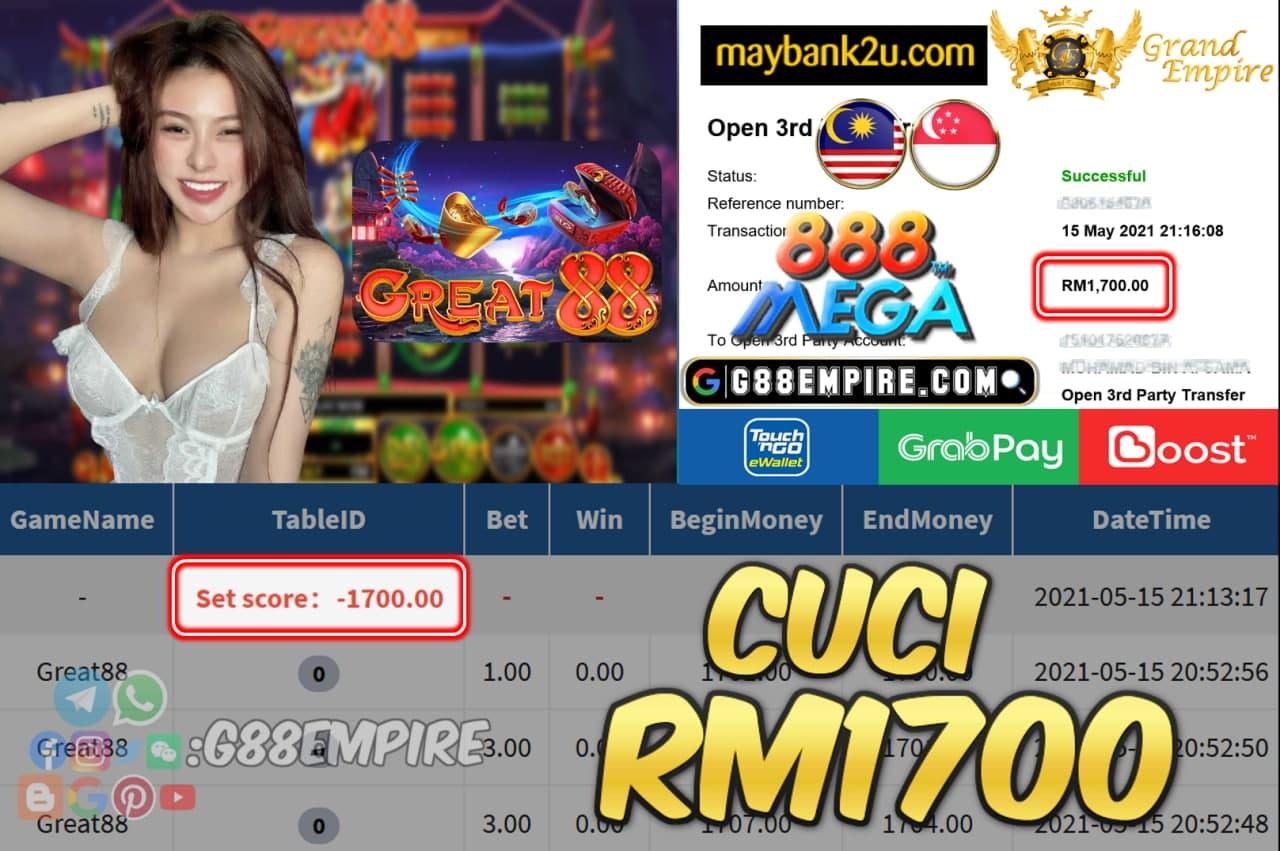 MEGA888 - GREAT88 CUCI RM1700 !!!