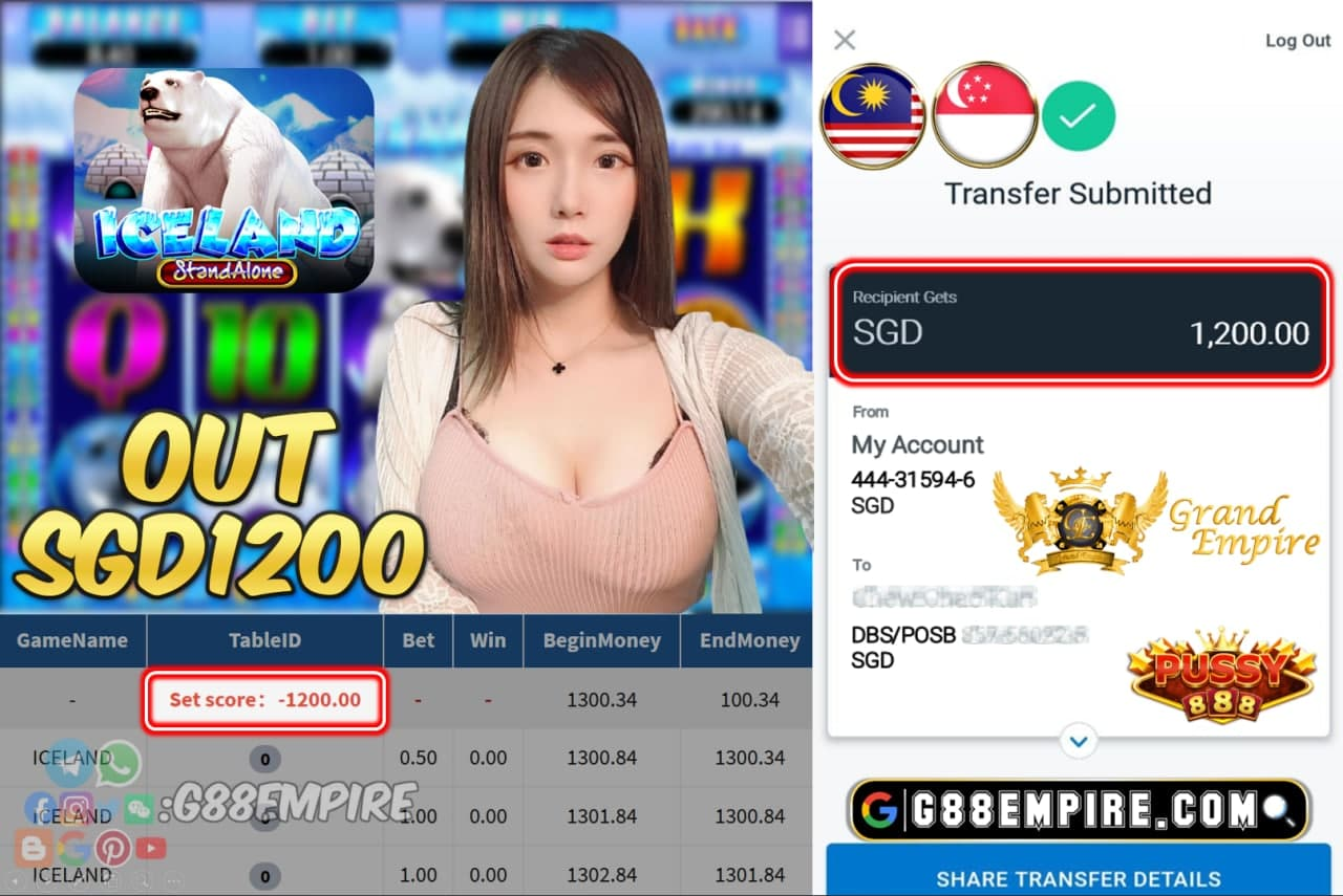 PUSSY888 - ICELAND CASH OUT SGD1200 !!!