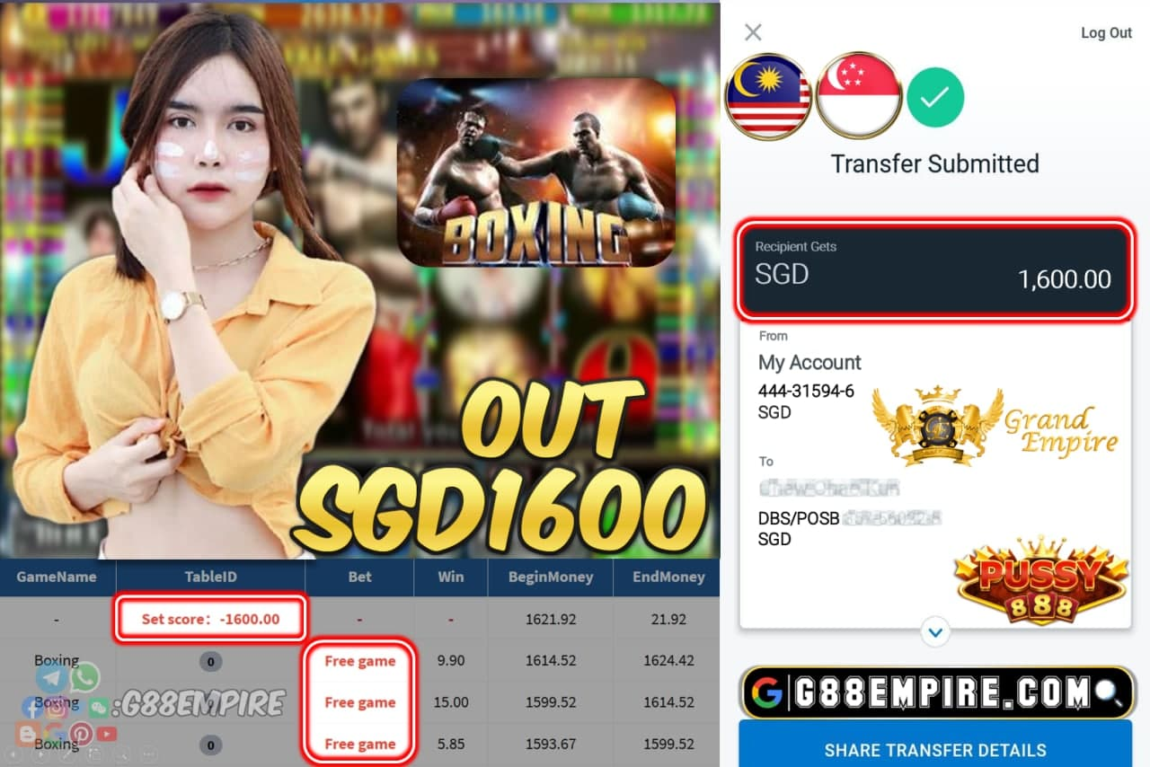 PUSSY888 -- BOXING CASH OUT SGD1600 !!!