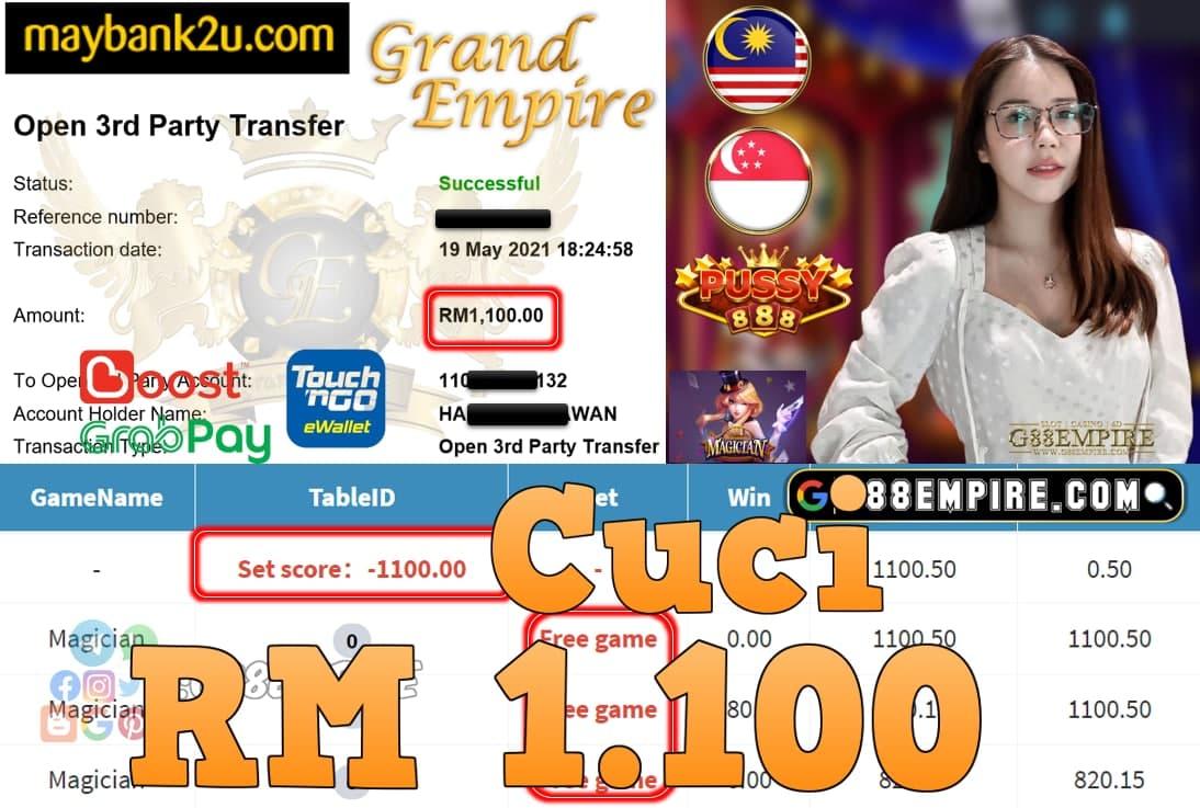 PUSSY888-MAGICIAN CUCI RM1,100!!!