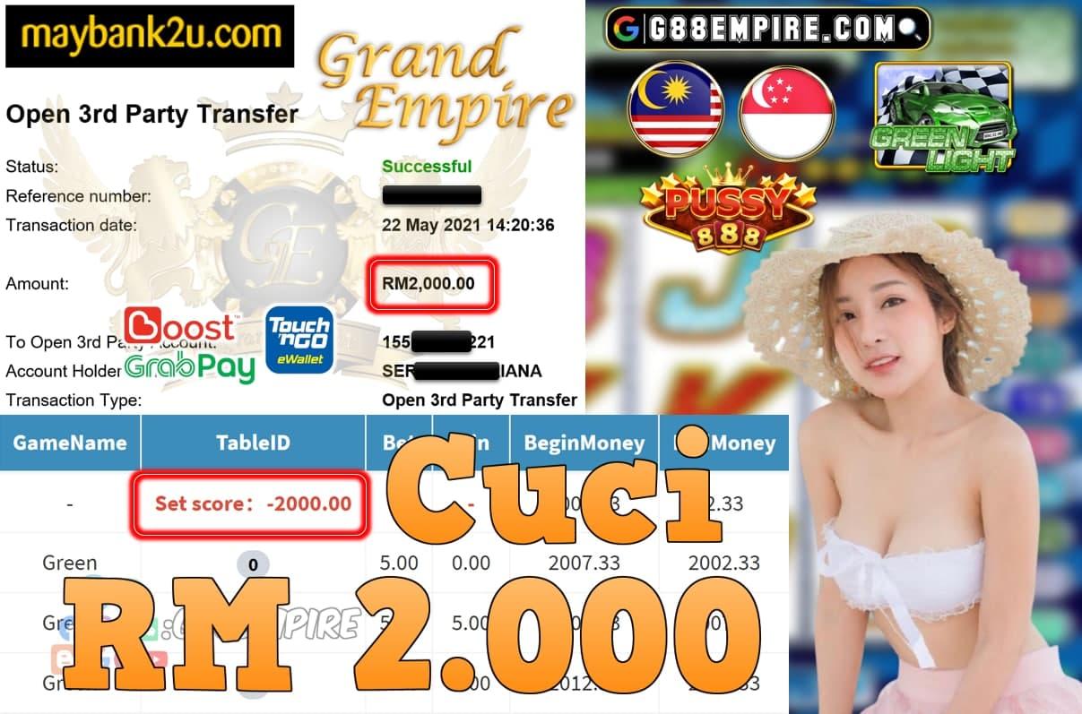 PUSSY888-GREENLIGHT CUCI RM2,000!!!
