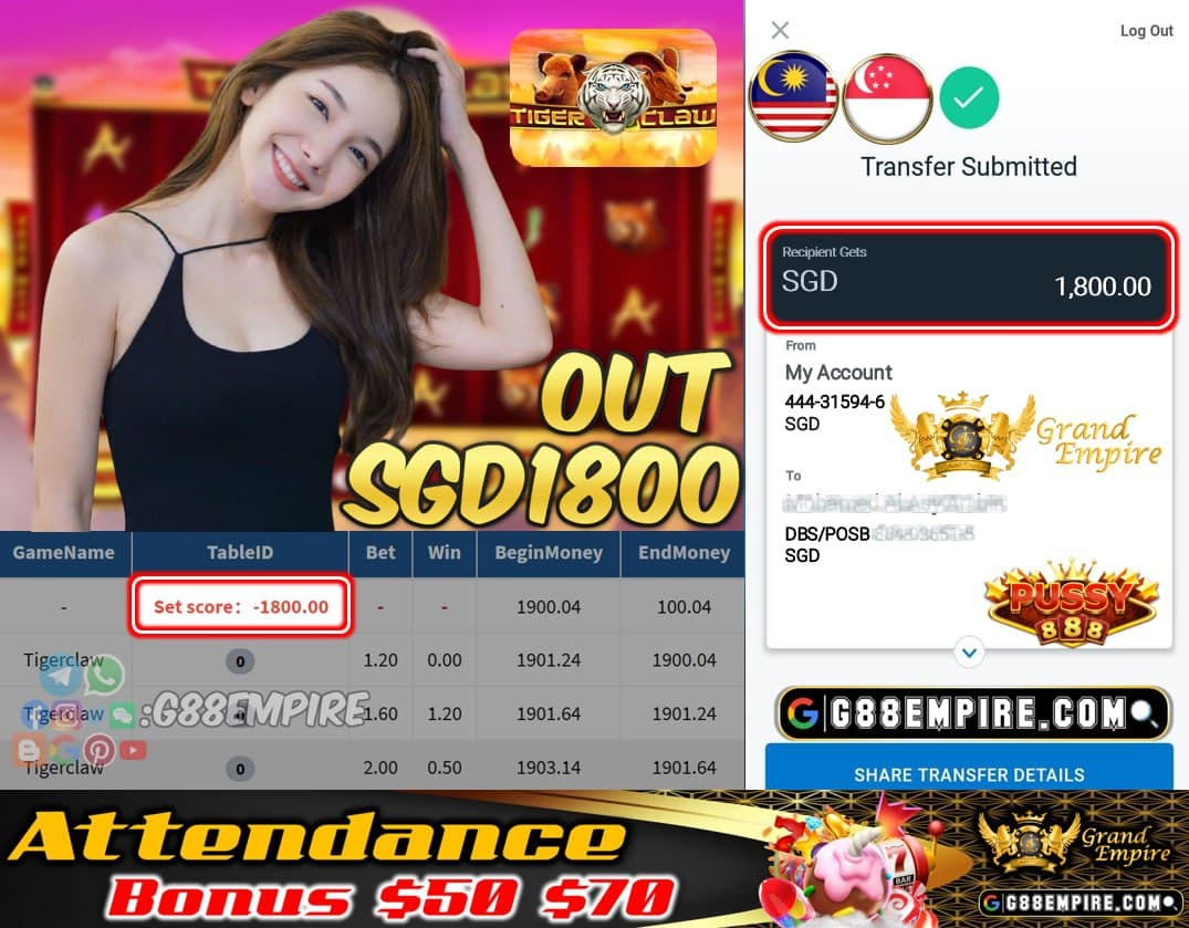 PUSSY888 - TIGERCLAW CASHOUT SGD1800 !!!