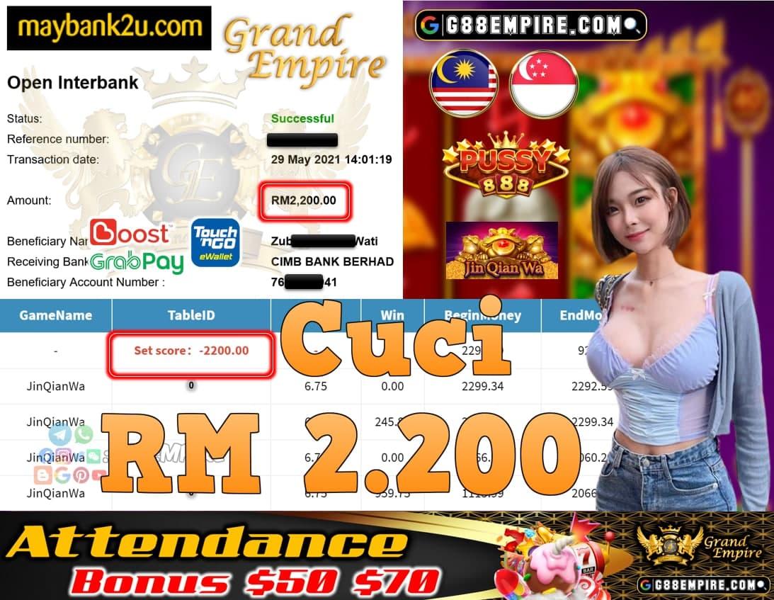 PUSSY888-JINQIANWA CUCI RM2,200!!!