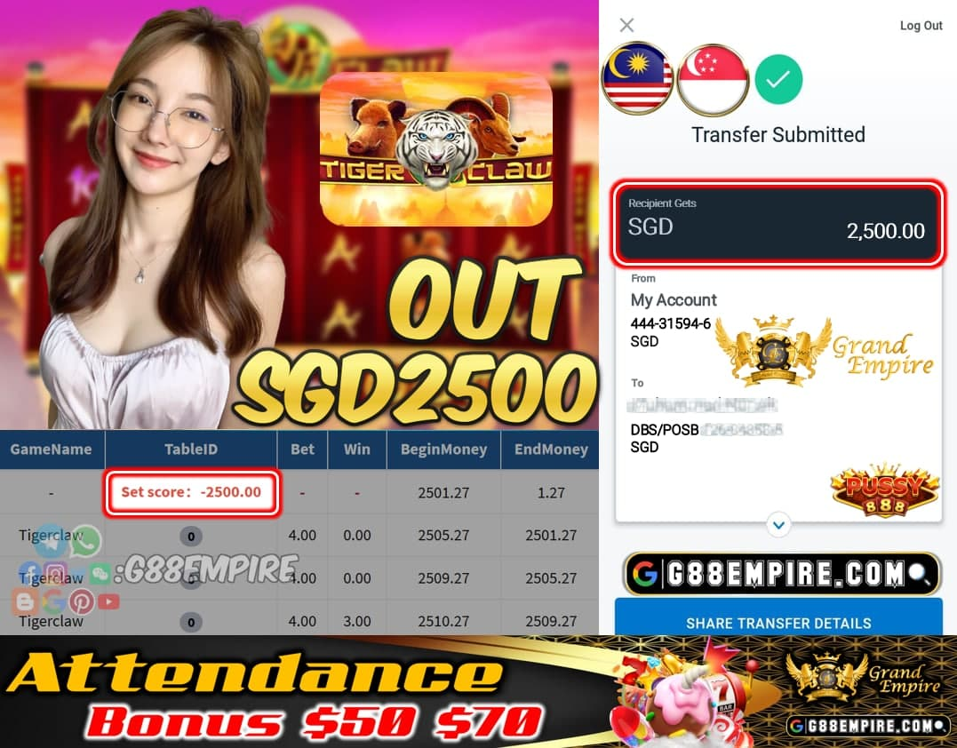PUSSY888 - TIGERCLAW CASHOUT SGD2500 !!!