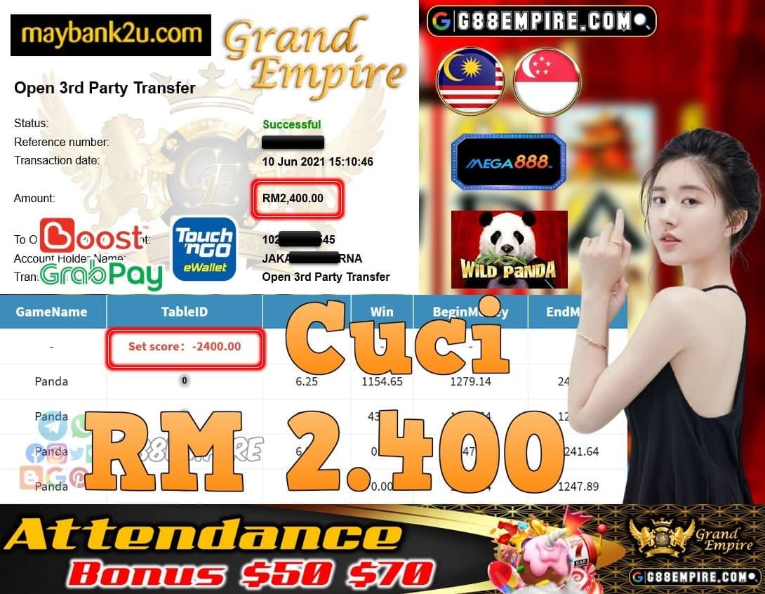MEGA888 - PANDA CUCI RM2,400!!!