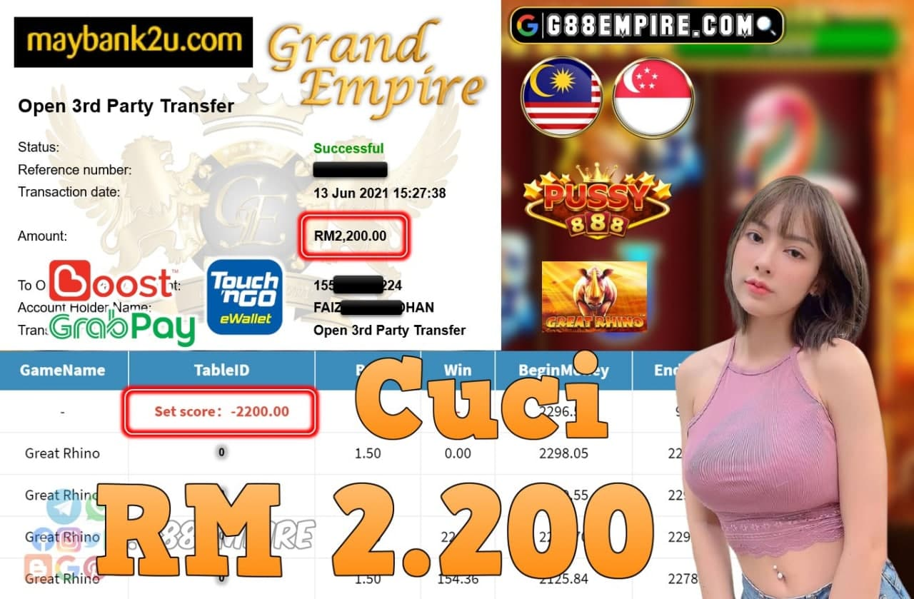 PUSSY888 - GREAT RHINO CUCI RM2,200!!!