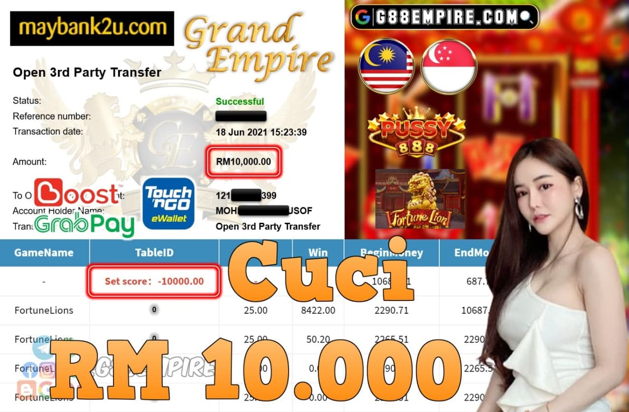 PUSSY888 - FORTUNELIONS CUCI RM10,000!!!