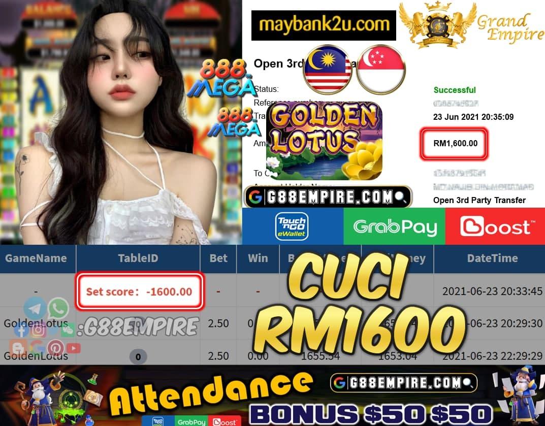 MEGA888 - GOLDENLOTUS CUCI RM1600 !!!