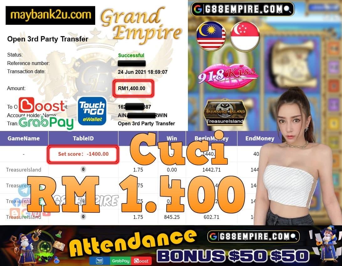918KISS ORI - TRASUREISLAND CUCI RM1,400!!!