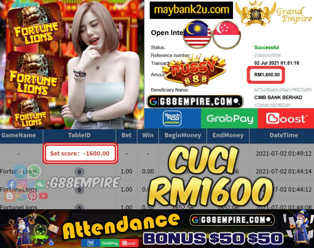 PUSSY888 - FORTUNELIONS CUCI RM1600 !!!
