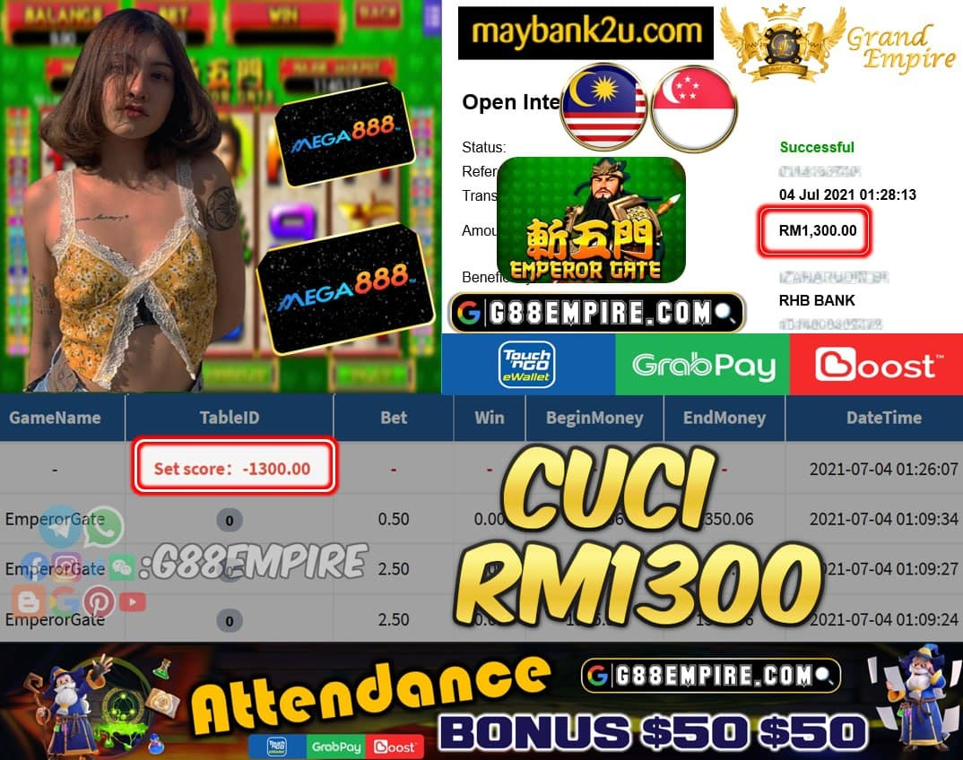 MEGA888 - EMPERORGATE CUCI RM1300 !!!