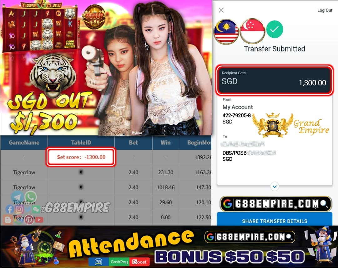 PUSSY888 - TIGERCLAW CASHOUT SGD1300 !!!