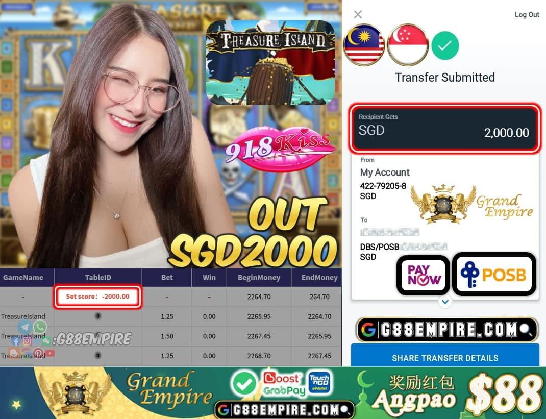 918KISS ORI - TREASURELALAND CASH OUT SGD2000 !!!