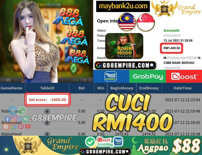 MEGA888 - ROBINHOOD CUCI RM1400 !!!