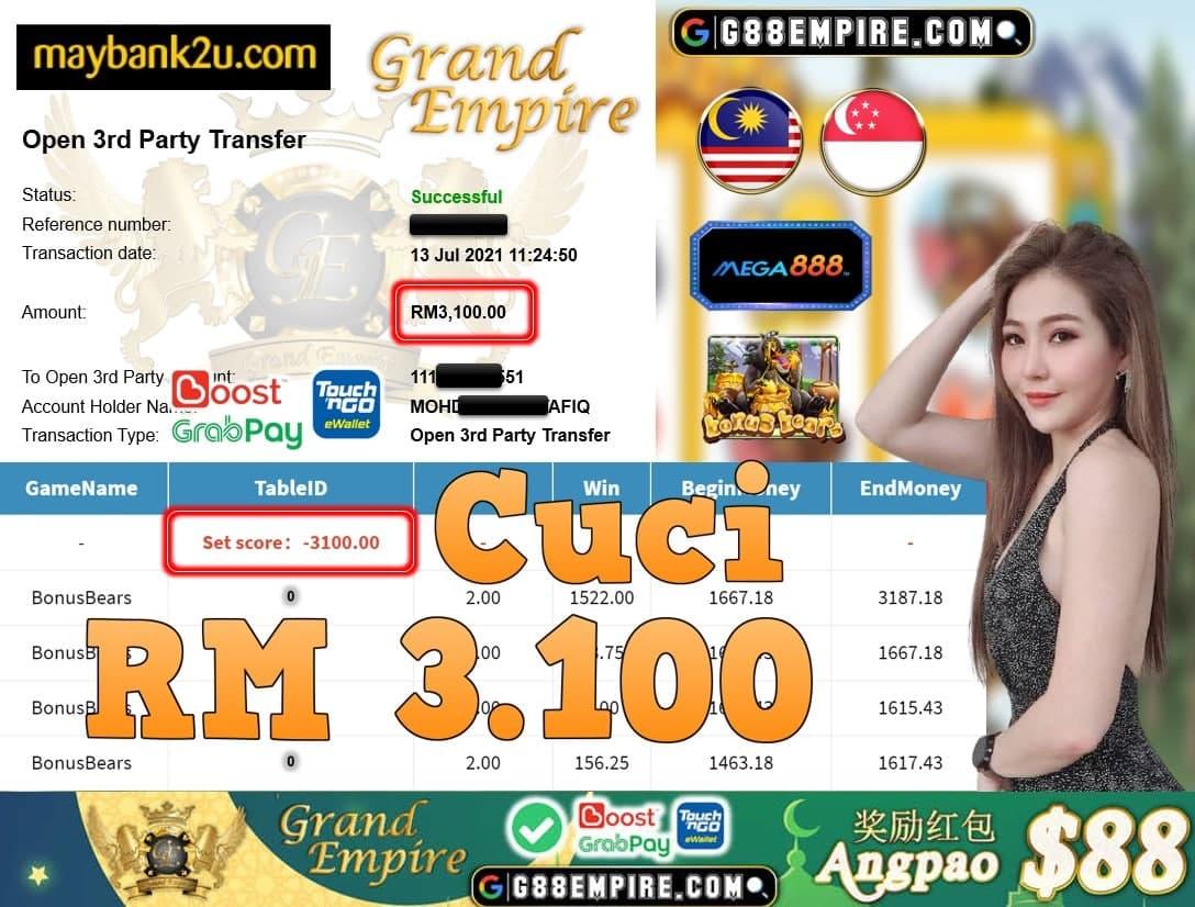 MEGA888 - BONUSBEARS CUCI RM3,100!!!