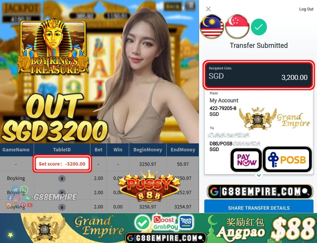 PUSSY888 - BOYKING CASHOUT SGD3200 !!!