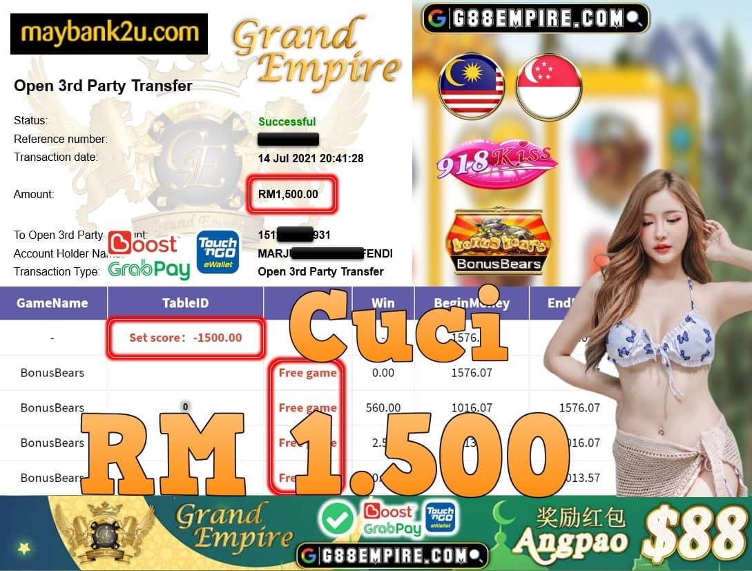 918KISS ORI - BONUSBEARS CUCI RM1,500!!!