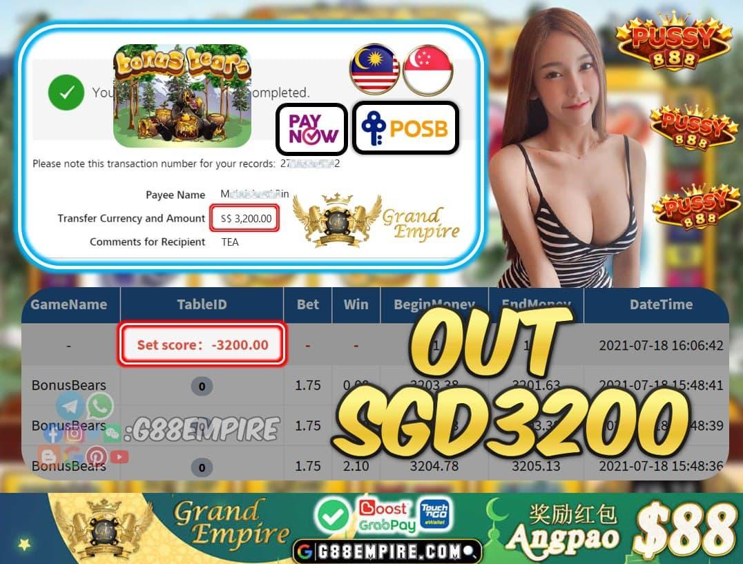 PUSSY888 - BONUSBEARS CASHOUT SGD3200 !!!