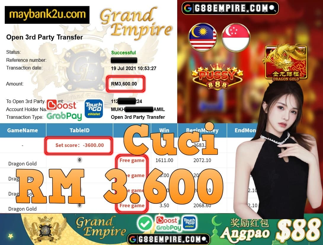 PUSSY888 - DRAGON GOLD CUCI RM3,600!!