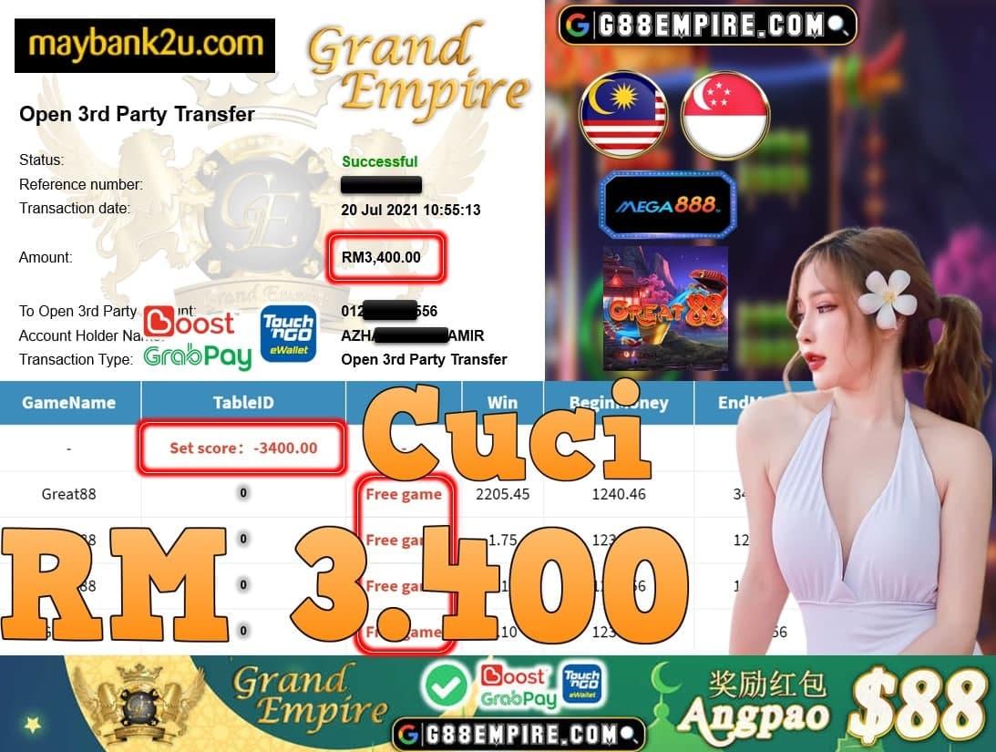 MEGA888 - GREAT88 CUCI RM3,400!!!