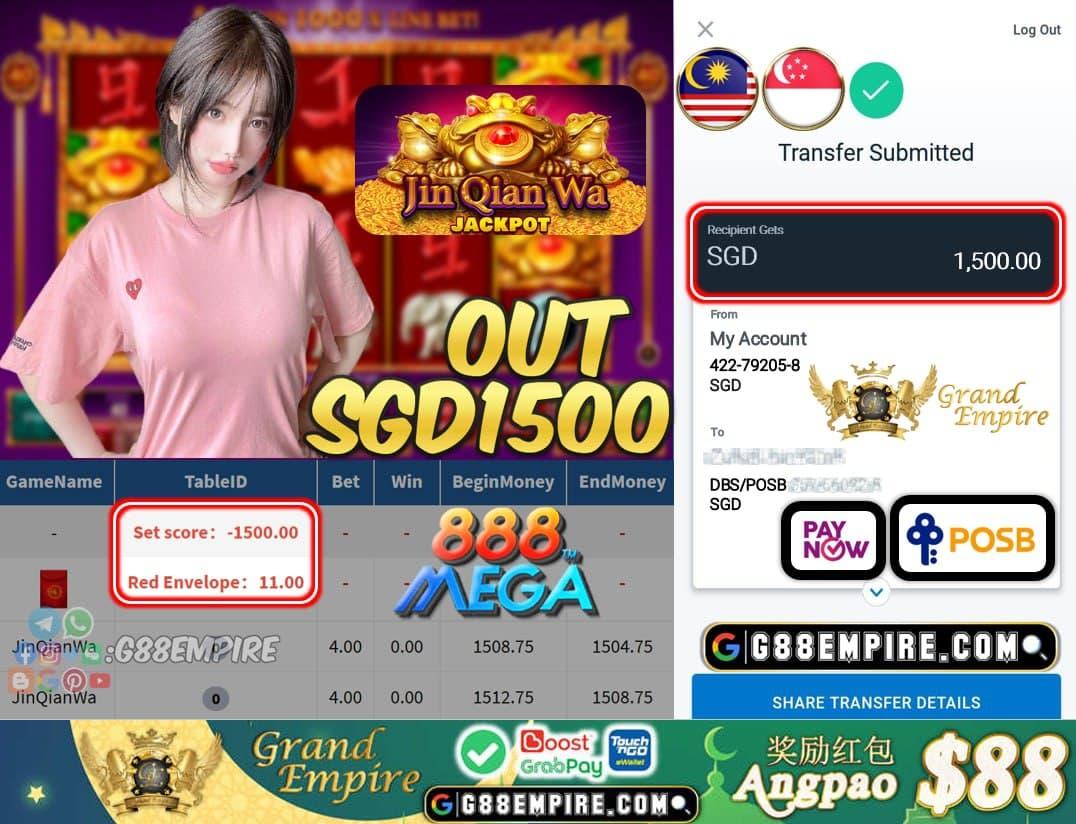 MEGA888 - JINGQIANWA CASHOUT SGD1500 !!!
